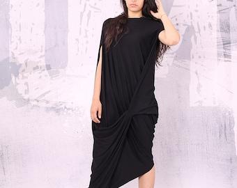 Dress, Black maxi dress,  short sleeves dress, plus size dress, oversize tunic dress, long tunic dress, Maxi dress, long dress  - UM-028-VL