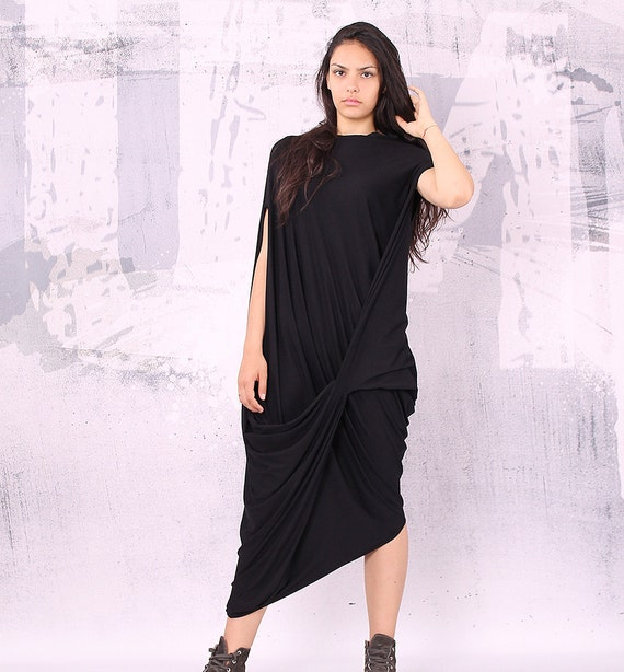 Dress Black Maxi Dress Short Sleeves Dress Plus Size Etsy