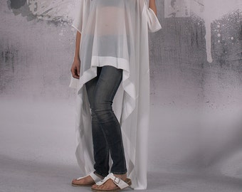 Tunic, Ivory extravagant loose long asymmetrical tunic, plus size tunic, oversized maxi top, loose top - FP-KIRA2-CH