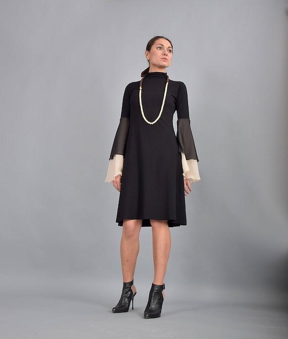 Little Black Dress Knee Length Dress Midi Dress Woman Etsy