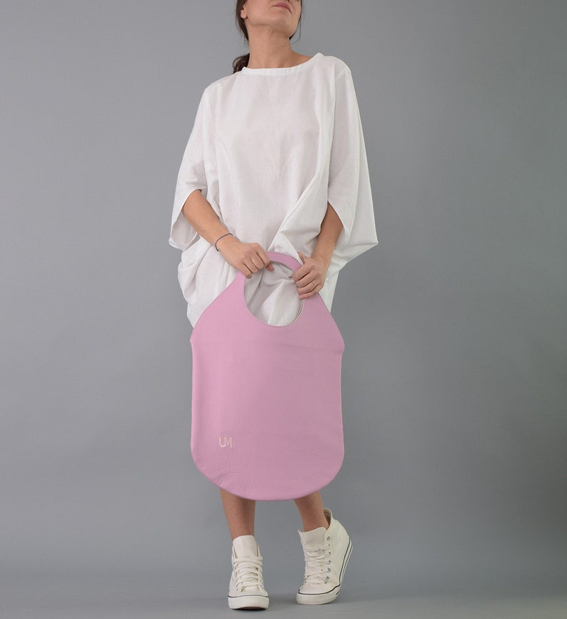 Pink handbagPink tote  Tote bag Irregular bag Oval tote image 0