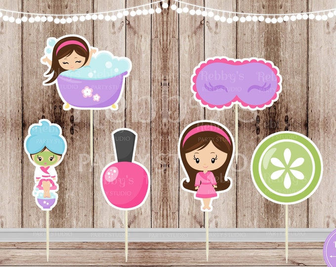 Spa Theme Party - Set of 12 Assorted Spa Girl Party Cupcake Toppers - #124