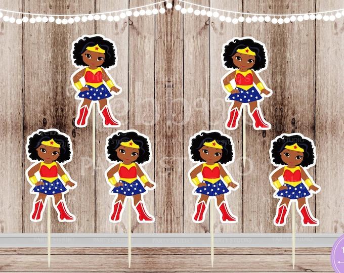 Superhero Girl Party - Set of 16 African American Wonder Girl Inspired Cupcake Toppers