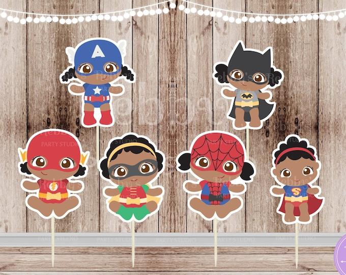 Girl Superhero Babies - Set of 12 Assorted African American Baby Girl Superheroes Team 1 Inspired Cupcake Toppers