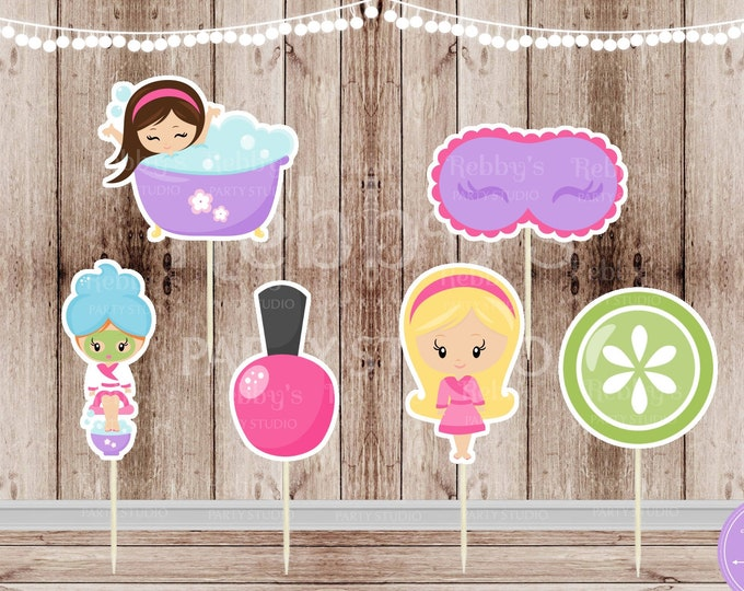 Spa Theme Party - Set of 12 Assorted Spa Girl Party Cupcake Toppers - #125