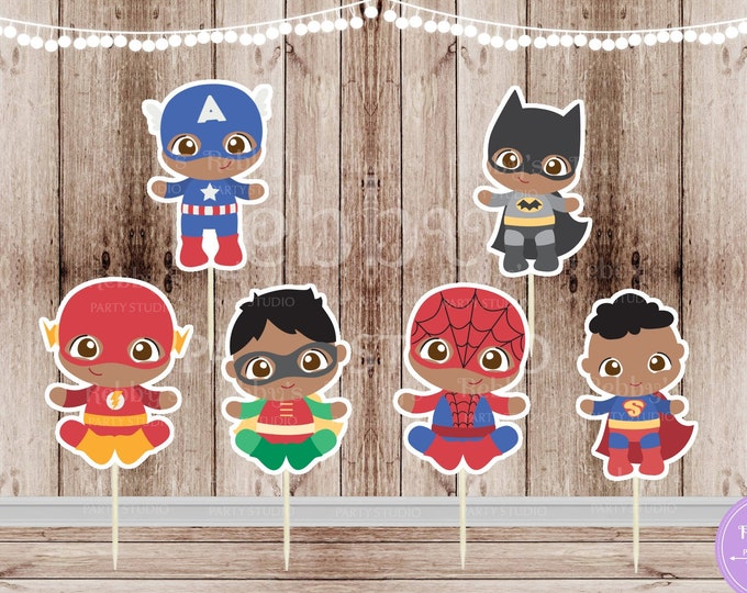 Boy Superhero Babies - Set of 12 Assorted African American Baby Boy Superheroes Team 1 Inspired Cupcake Toppers