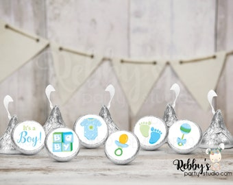 """It's a Boy Hershey Kiss Stickers, 108 Baby Shower Stickers, Envelope Seals, 0.75"""" Circle Stickers"""