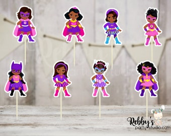 Instant Download - Superhero Girl Party - Printable Assorted African American Pink Superhero Girls Inspired Double Sided Cupcake Toppers