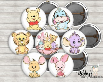 """Set of 14 Cute Bear and Friends 1"""" inch Mini Buttons - Mini Pin Back Buttons - Baby Shower Favors"""