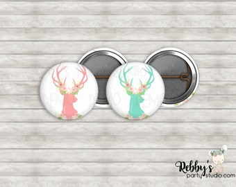 """Baby Deer Antlers 1"""" inch Mini Buttons - Mini Pin Back Buttons - Baby Shower Favors"""