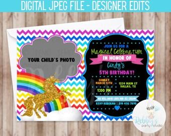 Gold Unicorn Rainbow Chevron Birthday Invitation - Digital Printable File Designer Edits