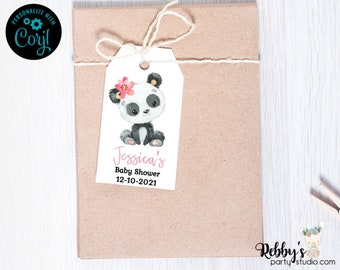 Flower Girl Panda Baby Shower Tags, Baby Shower Party Favor Tags, Editable Template, Printable Gift Tags , 2x3.5 inch Favor Tags