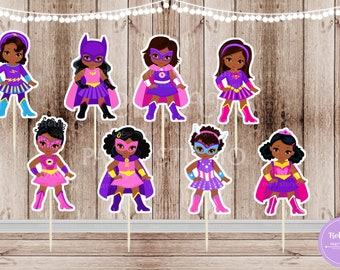 Superhero Girl Party - Set of 16 Assorted African American Pink Superhero Girls Inspired Cupcake Toppers