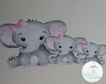 12 Baby Girl Elephant Cut Outs