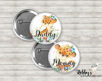 Girl Cheetah Baby Shower Pin Buttons, Mommy to be Pin Buttons, Personalized Pin Buttons,  Flower Cheetah Button Badges