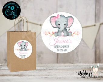 Pink Girl Elephant Editable Baby Shower Favor Tags, 2 inch Round Stickers, Corjl Instant Access Editable Round Favor Tags