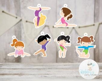 Girls Gymnastics Party - Set of 12 Assorted Girl Gymnast Favor Tags