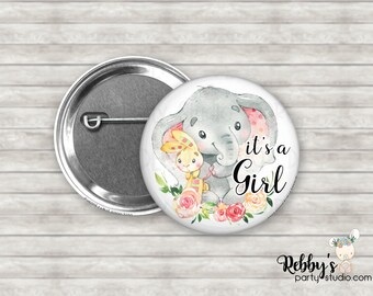 It's a Girl Cute Pink Baby Elephant Pin Back Button, Baby Shower Pin Buttons , Announcement Baby Button Pins