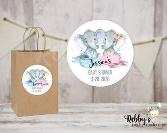 Twin Both Elephant Personalized Baby Shower Round Stickers, Personalized Favor Stickers, Baby Shower Stickers, 10 Different Sizes Available