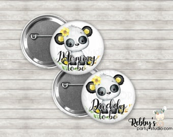 Sunflower Panda Baby Shower Pin Buttons, Mommy to be Pin Buttons, Personalized Pin Buttons, Sunflower Panda Button Badges