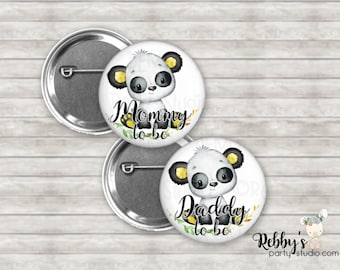 Panda Baby Shower Pin Buttons, Mommy to be Pin Buttons, Personalized Pin Buttons, Panda Button Badges