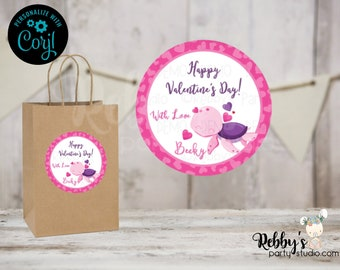 Sea Turtle Valentine's Day Favor Tags, 2 inch Round Stickers, Corjl Instant Access Editable Round Favor Tags