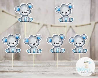 Boy Bear Theme  - Set of 12 Blue Bear Baby Shower Cupcake Toppers