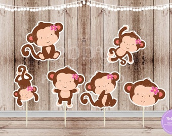 Monkey Girl Party - Set of 12 Assorted Monkey Girls Cupcake Toppers