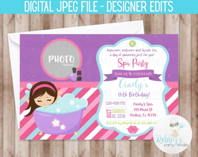 Spa Birthday Party Invitation Photo Personalize D050 Digital Printable File Designer Edits