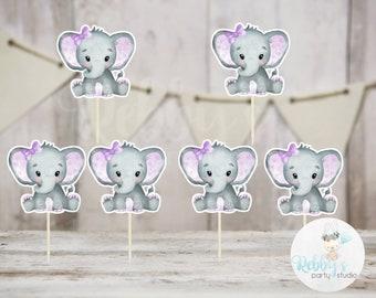 Girl Elephant Theme  - Set of 12 Purple Elephant Baby Shower Cupcake Toppers