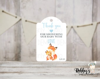 Boy Fox Baby Shower Thank You Tags, Baby Shower Party Favor Tags, Mommy and baby Fox, 3 different sizes