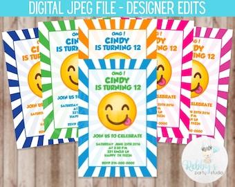 Silly Emoji Birthday Party Invitation - Digital Printable File Designer Edits