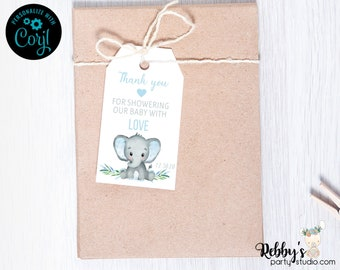 Blue Boy Elephant Baby Shower Thank You Tags, Baby Shower Party Favor Tags, Editable Template, Printable Gift Tags , 2x3.5 inch Favor Tags