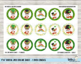 Instant Download - St Patrick's Day Lucky Fox 4x6 Digital 1 inch Bottle Cap Circle Images DS107