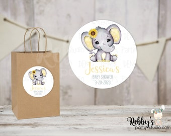 Sunflower Elephant Personalized Baby Shower Round Stickers, Personalized Favor Stickers, Baby Shower Stickers, 10 Different Sizes Available