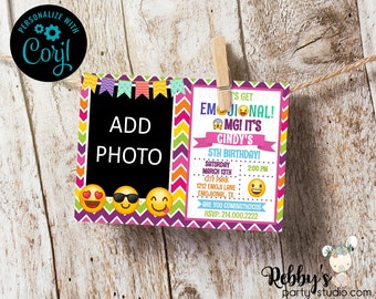 Emoji Chevron Photo Personalized Birthday Party Invitation - Instant Access - Edit Yourself Online with Corjl
