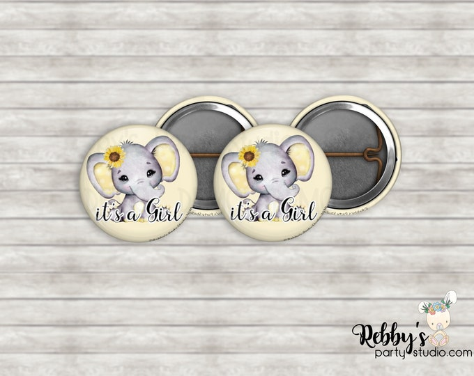 """Sunflower Yellow Elephant it's a Girl 1"""" inch Mini Buttons - Mini Pin Back Buttons - Baby Shower Favors"""