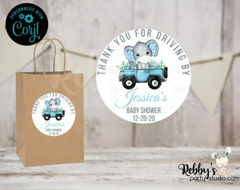 Quarantine Blue Elephant Drive By Editable Baby Shower Favor Tags, 2 inch Round Stickers, Corjl Instant Access Editable Round Favor Tags