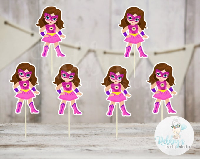 Superhero Girl Party - Set of 16 Pink Spider Girls Inspired Cupcake Toppers