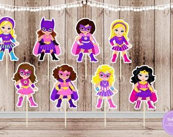 Superhero Girl Party - Set of 16 Assorted Pink Superhero Girls Inspired Cupcake Toppers