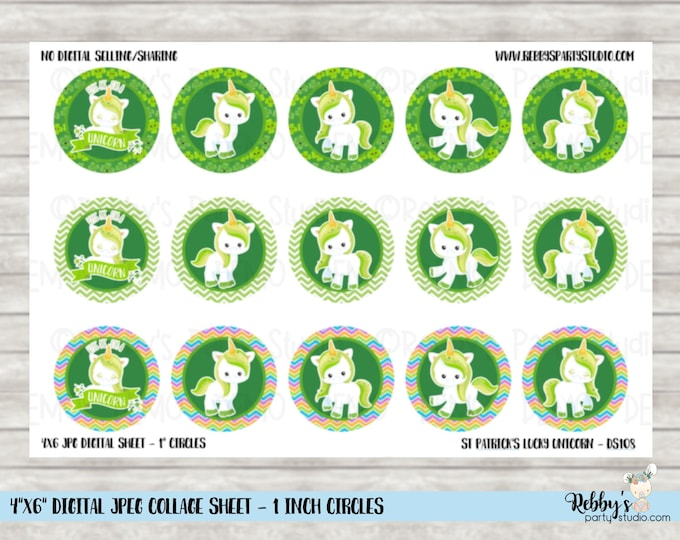 Instant Download - St Patrick's Day Lucky Unicorn 4x6 Digital 1 inch Bottle Cap Circle Images DS108