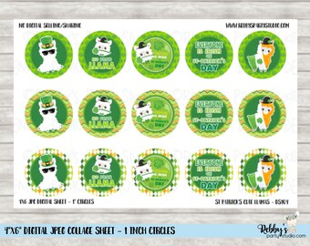 Instant Download - St Patrick's Cute Llamas 4x6 Digital 1 inch Bottle Cap Circle Images DS104