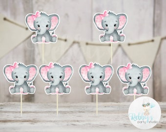 Girl Elephant Theme  - Set of 12 Pink Elephant Baby Shower Cupcake Toppers