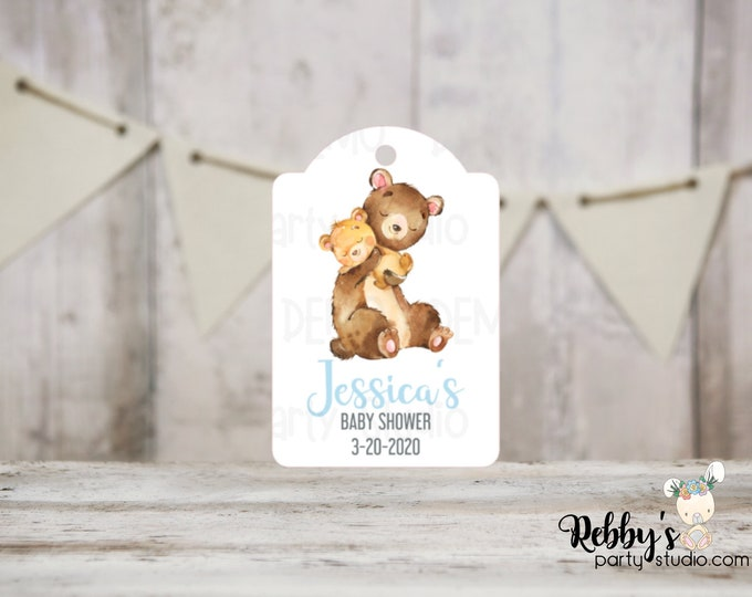 Boy Bear Baby Shower Tags, Baby Shower Party Favor Tags, Mommy and baby Bear, 3 different sizes