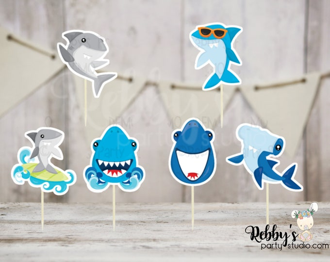 Shark Party - Set of 12 Shark Cupcake Toppers