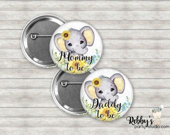 Elephant Girl Sunflower Baby Shower Pin Buttons, Mommy to be Pin Buttons, Name Badge Pin Buttons, Yellow Baby Elephant Button Badges