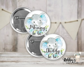 Blue Heart Elephant Boy Baby Shower Badges, Mommy to be Pin Buttons, Name Badge Pin Buttons, Family Name Tags, Birthday Button Badges