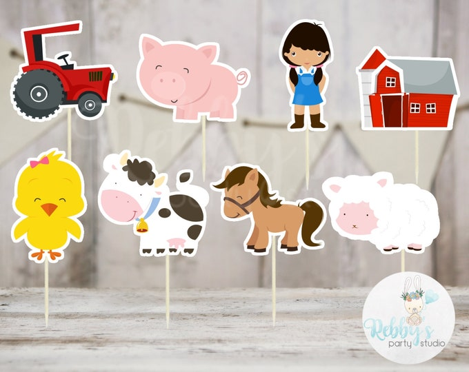 Girl Barnyard Theme Party - Set of 16 Assorted Farm Animals  Cupcake Toppers #146