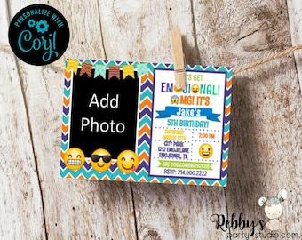 Emoji Boy Chevron Photo Personalized Birthday Party Invitation - Instant Access - Edit Yourself Online with Corjl