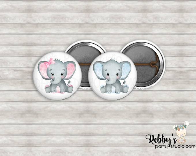 """Elephant Gender Reveal 1"""" inch Mini Buttons - Mini Pin Back Buttons - Baby Shower Favors"""